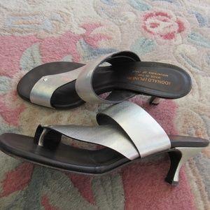 Donald J Pliner Silver Short Heel Sandals Size 8